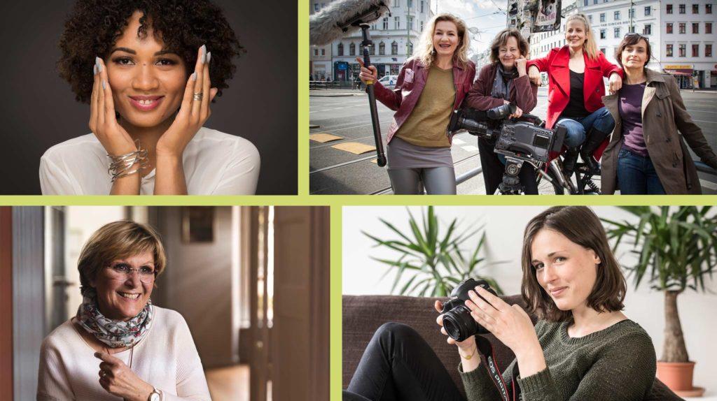 Vier Portraits von Gründerinnen, die ihr eigenes Unternehmen führen: eine schwarze, junge Frau lächelt direkt in die Kamera, ein Team von vier Frauen mittleren Alters steht mit Filmausrüstung im Freien, ältere Frau mit Kurzhaarschnitt lächelt jemanden außerhalb des Bildes an, junge Frau mit kurzen, dunklen Haaren hält einen Fotoapparat und lächelt seitlich in die Kamera, im Hintergrund Grünpflanzen.