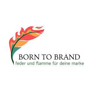 Logo: Zeichnung einer brennende Feder mit der Wortmarke Born To Brand, feder und flamme für deine marke