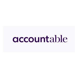 """Logo accountable, Schrift auf weißem Grund, die Buchstaben von """"account"""" sind fett"""